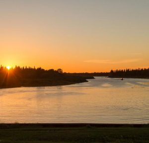 Sunset at Cree Village Eco Lodge In Ontario Canada