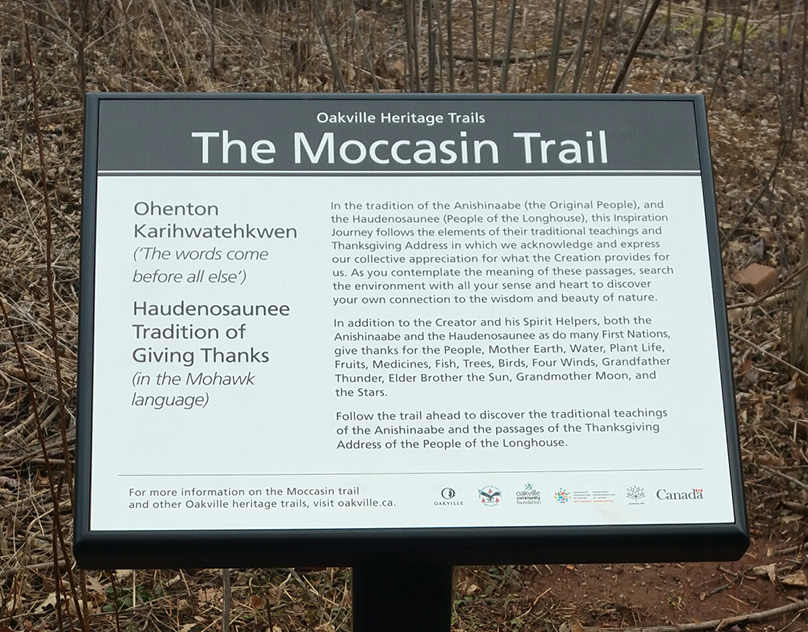 Moccasin Trail marker honoring Traditional Indigenous lands culture and history