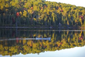Fall colours with canoe
